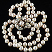 Miriam Haskell Faux Pearl Choker Necklace Glass Double 2 Strand Row  Rhinestone Clasp