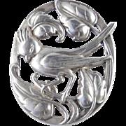 Coro Norseland Sterling Silver Cardinal Bird Brooch Pin