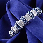 Ciner Crystal Rhinestone Faux Sapphire Bracelet Articulated Rhodium Plate 1960s