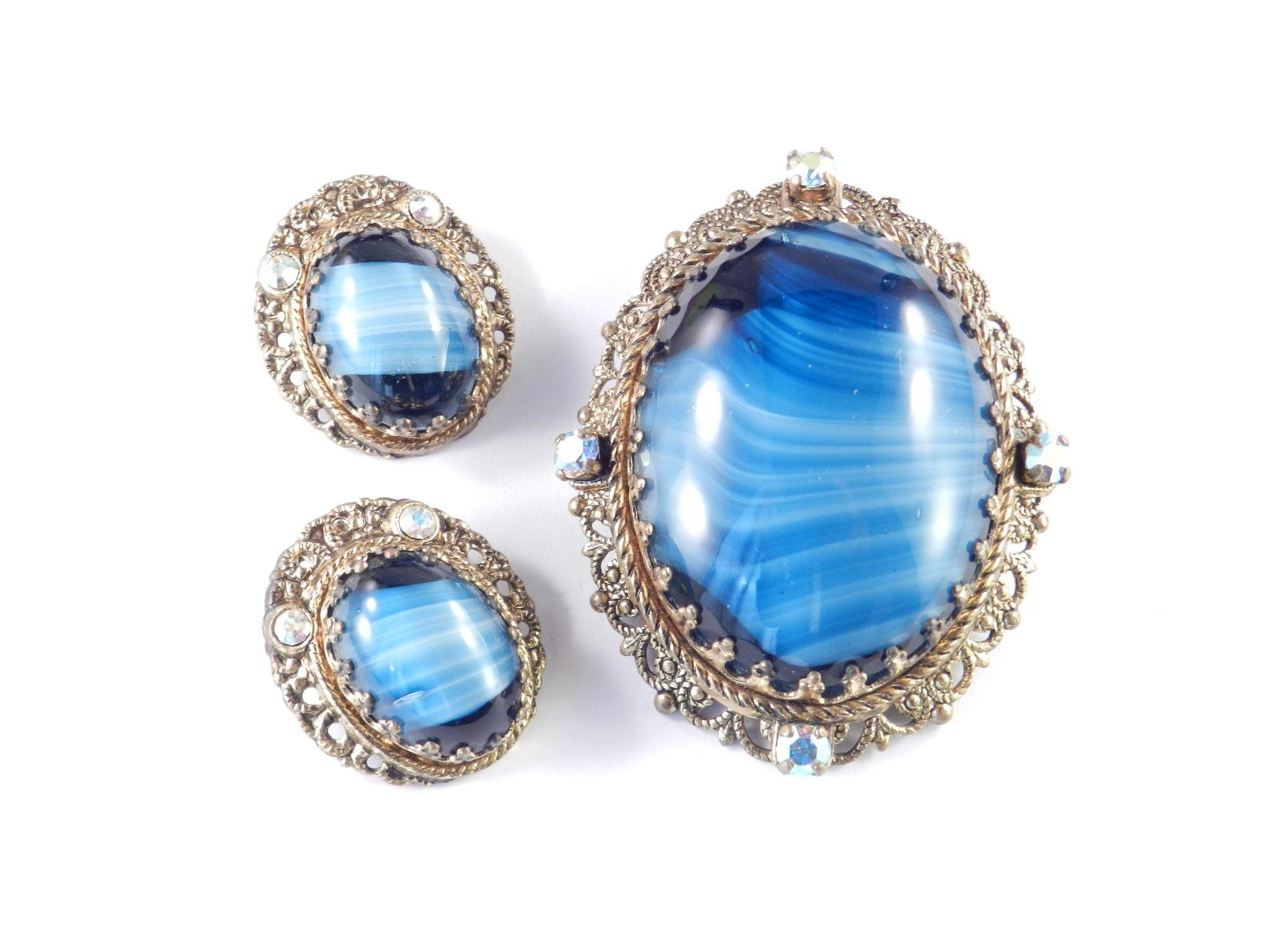 West Germany Blue Porphyry Glass Cabochon & Rhinestone Brooch Pin Earrings Set