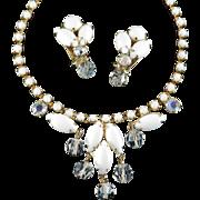 Milk Glass Cabochon Rhinestone Crystal Bead Dangle Necklace Earrings Demi Parure Set