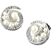 Panetta Rhinestone Faux Pearl Earrings Rhodium Plate