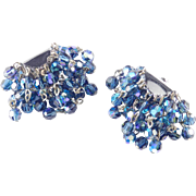 Coro Glass Bead PomPom Dangle Earrings