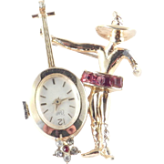 Coro Figural Rhinestone Flamenco Dancer Mandolin Guitar Player Mechanical Watch Pin Working