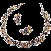 Lisner Rhinestone Necklace Earrings Demi Parure Set