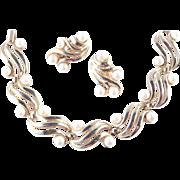 Trifari Faux Pearl Bracelet Earrings Demi Parure Set