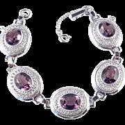 Danecraft Sterling Silver Art Glass Faux Amethyst Link Bracelet