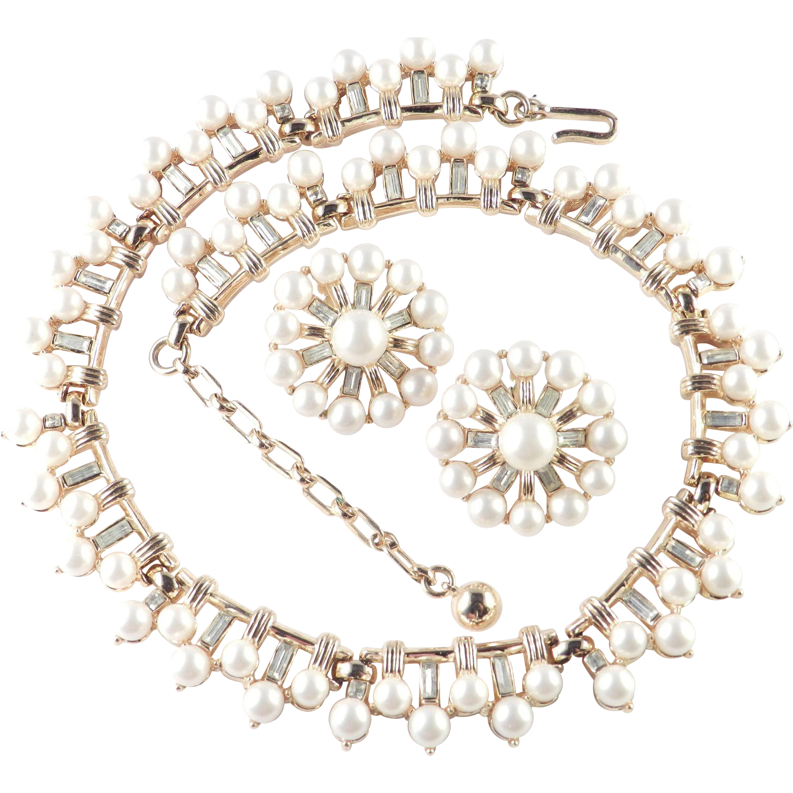 trifari rhinestone faux pearl necklace earrings demi