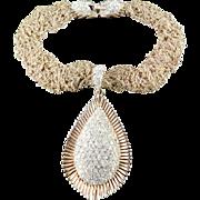 Trifari Alfred Philippe Multi Strand Chain Rhinestone Clasp Bail Tear Drop Pendant Necklace