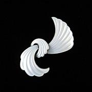 Nils Elvik & Co. Norway Sterling Silver Enamel Ribbon Bow Brooch Pin