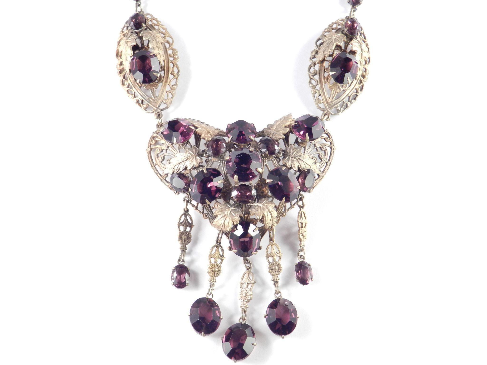 Deco Czechoslovakia Faux Amethyst Art Glass Bib Necklace