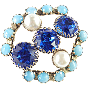 Huge Triple Beam Dentelle Headlight Rhinestone Faux Pearl Turquoise Brooch Pin
