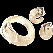 Trifari Belt Buckle Brooch Pin Earrings Demi Parure Set