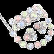 By Gale Givre Rhinestone Necklace Bracelet Earrings Parure Set Pristine