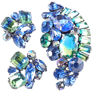 Kramer Bi Color Rhinestone Brooch Pin Earrings Demi Parure Set