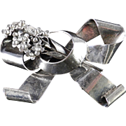 Hobe Sterling Silver Bow Brooch Pin