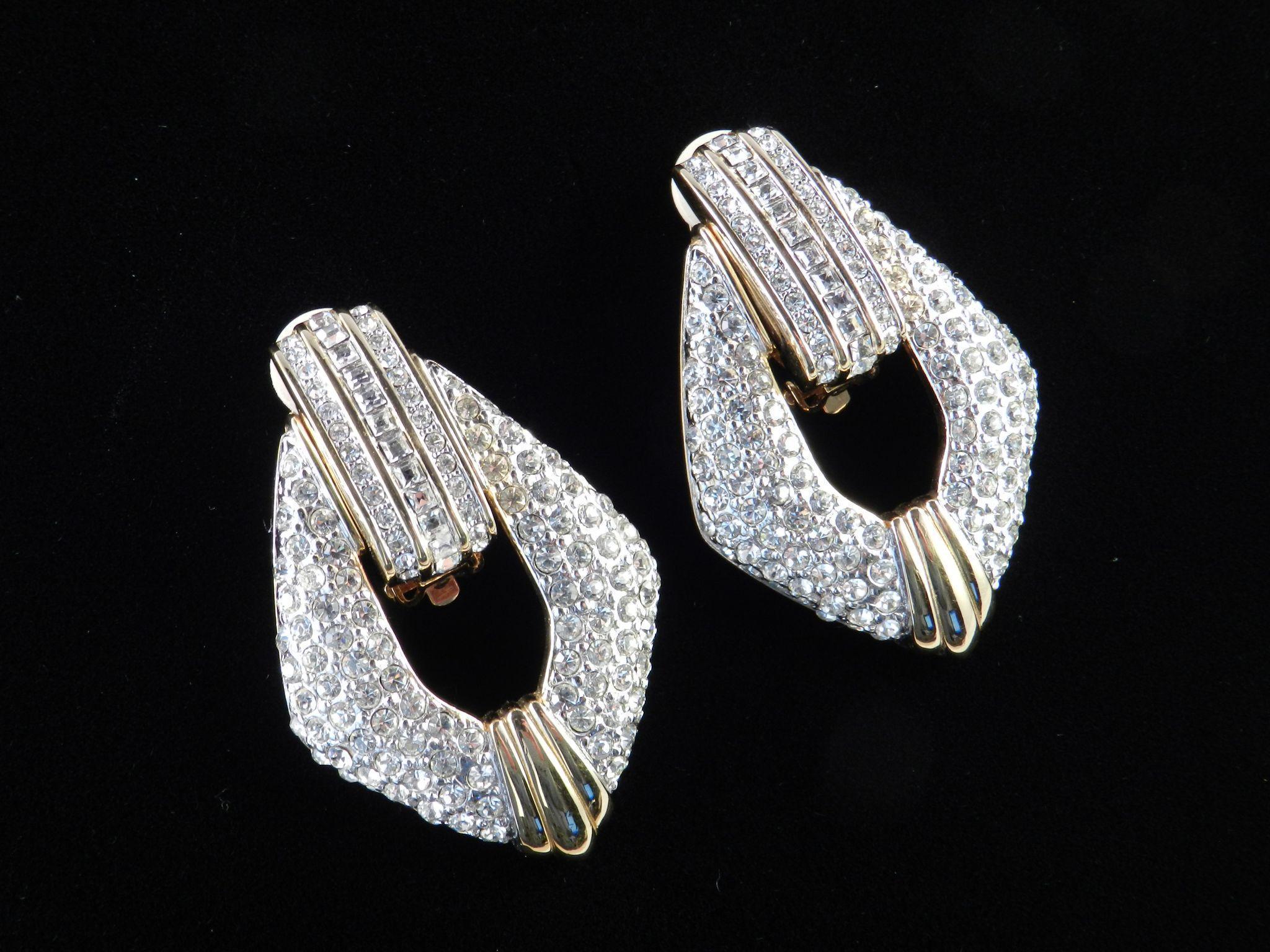 Swarovski Rhinestone Door Knocker Earrings Swan Mark From