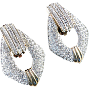 Swarovski Rhinestone Door Knocker Earrings Swan Mark