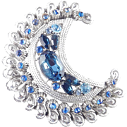 Coro Rhinestone Crescent Moon Brooch Pin