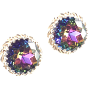 Elsa Schiaparelli Watermelon Tourmaline Rhinestone Earrings