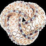 Marcel Boucher Rhinestone Faux Turquoise Brooch Pin