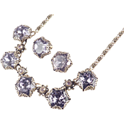 Purple Head Light Rhinestone Necklace Earrings Demi Parure Set