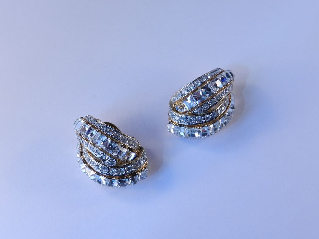 Nina Ricci Rhinestone Earrings 1980s Vintage