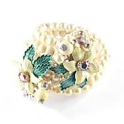 Enamel Rhinestone Bead Faux Pearl Wrap Bracelet