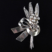Hobe Sterling Silver Bow Floral Spray Brooch Pin
