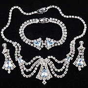 Jewels By Rosada Rhinestone Necklace Bracelet Earrings Parure Set w/ Box