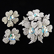 Rhinestone Crystal Margarita Brooch Pin Earrings Demi Parure Set