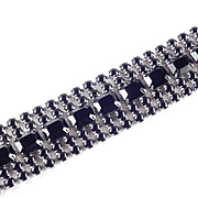 Wide  Black Glass Rhinestone Bracelet Rhodium Plate