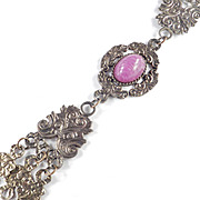 Jeanne Dangling Pendant Necklace w/ Marbled Cabochon
