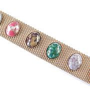 Sarah Coventry Sonnet Mesh Bracelet Faux Gemstone Cabochons