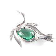 Sterling Silver Art Glass Rhinestone Figural Swan Brooch Pin