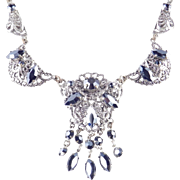 Western Germany Rhinestone Filigree Fringe Festoon Garland Necklace