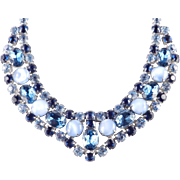 Wide Rhinestone Glass Cabochon Collar Necklace