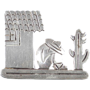 Vintage 980 Taxco Sterling Silver Figural Brooch Pin