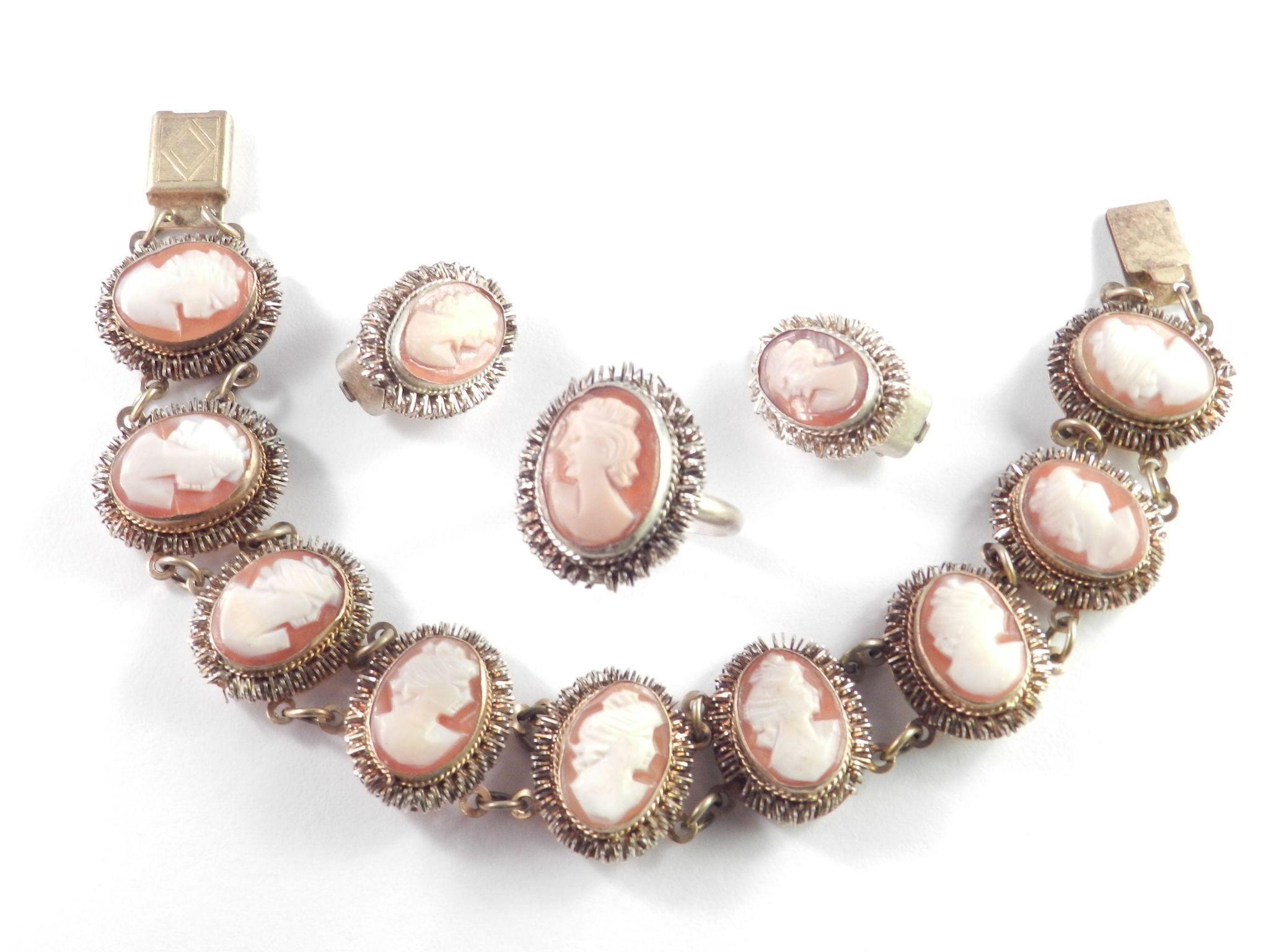 Vintage 800 Silver Shell Cameo Bracelet Earrings Ring
