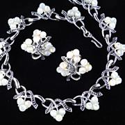 Kramer Moonglow Bead Necklace Earrings Demi Parure Set Rhodium Plate