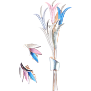 Kramer Enamel Brooch Pin Earrings Demi Parure Set