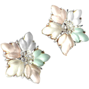 Coro Iridescent Frosted Glass Rhinestone Earrings