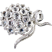 Reja Unsigned Crystal Glass Rhinestone Flower Brooch Pin Rhodium Plate