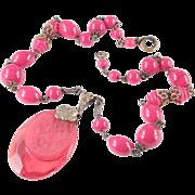 Czechoslovakia Red Bead Molded Glass Pendant Necklace
