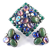 Rhinestone Glass Cabochon Faux Pearl Brooch Pin Earrings Demi Parure Set Pristine