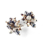 Vendome Coro Bead Cluster Rhinestone Earrings
