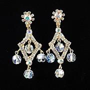 Rhinestone Crystal Glass Bead Dangle Chandelier Earrings