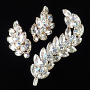 Huge Layered Rhinestone Plume Feather Brooch Pin Climber Earrings Demi Parure Set