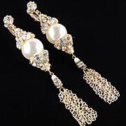 """Rhinestone Faux Pearl 4 1/2"""" Shoulder Duster Dangle Chandelier Earrings"""