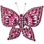 Large Layered Solid Rhinestone Butterfly Brooch Pin